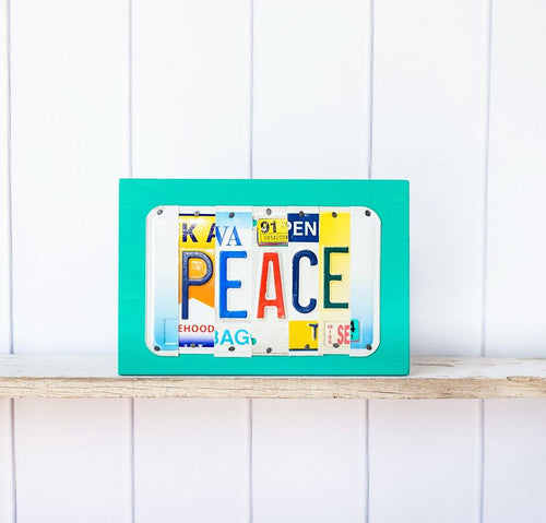 PEACE by Unique Pl8z  Recycled License Plate Art - Unique Pl8z