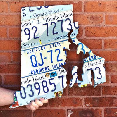 RHODE ISLAND STATE SHAPE  Recycled License Plate Art - Unique Pl8z