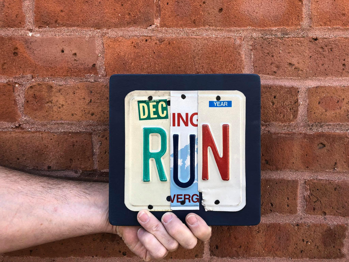 RUN by Unique Pl8z  Recycled License Plate Art - Unique Pl8z