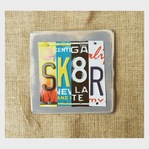 SK8R by Unique Pl8z  Recycled License Plate Art - Unique Pl8z