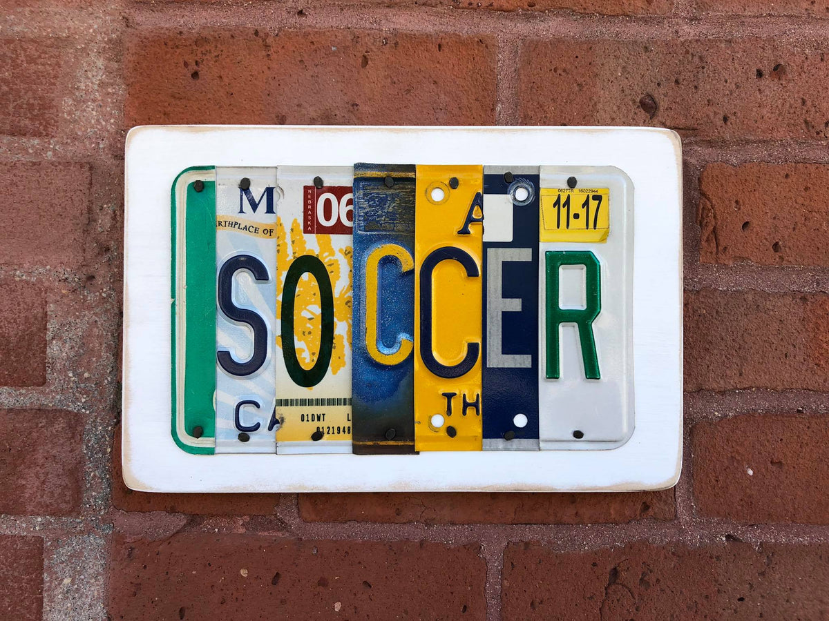 SOCCER by Unique Pl8z  Recycled License Plate Art - Unique Pl8z