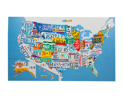 USA MAP by Unique Pl8z  Recycled License Plate Art - Unique Pl8z