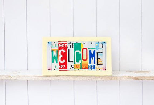 WELCOME by Unique Pl8z  Recycled License Plate Art - Unique Pl8z