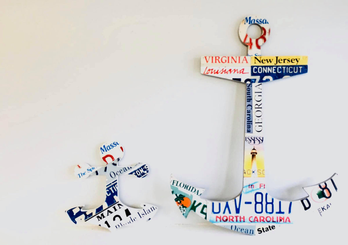 "12"" ANCHOR by Unique Pl8z  Recycled License Plate Art - Unique Pl8z"