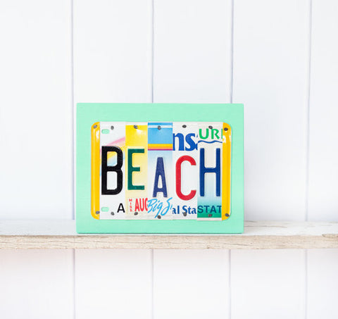 Beach License Plate Art by UNIQUE PL8Z  Recycled License Plate Art - Unique Pl8z