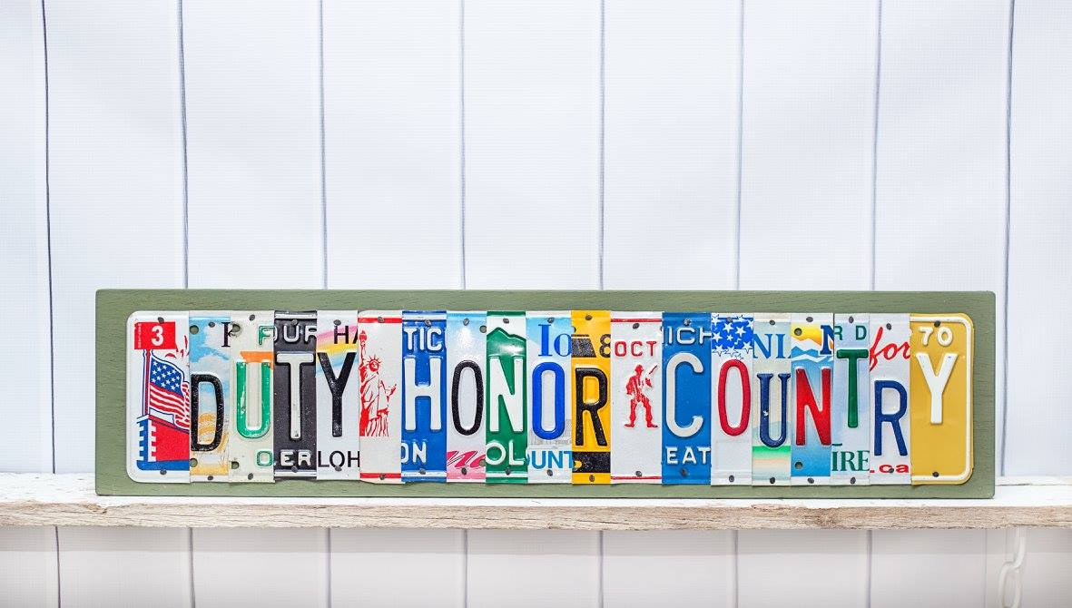DUTY HONOR COUNTRY by Unique Pl8z  Recycled License Plate Art - Unique Pl8z