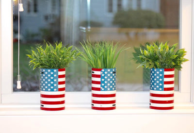 U.S. FLAG CANISTER  Recycled License Plate Art - Unique Pl8z