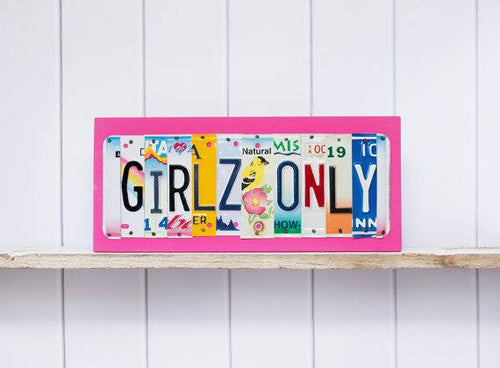 GIRLZ ONLY by Unique Pl8z  Recycled License Plate Art - Unique Pl8z