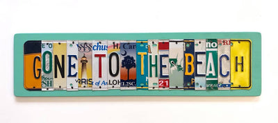 GONE TO THE BEACH by Unique Pl8z  Recycled License Plate Art - Unique Pl8z