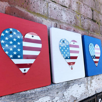 U.S. FLAG HEART  Recycled License Plate Art - Unique Pl8z