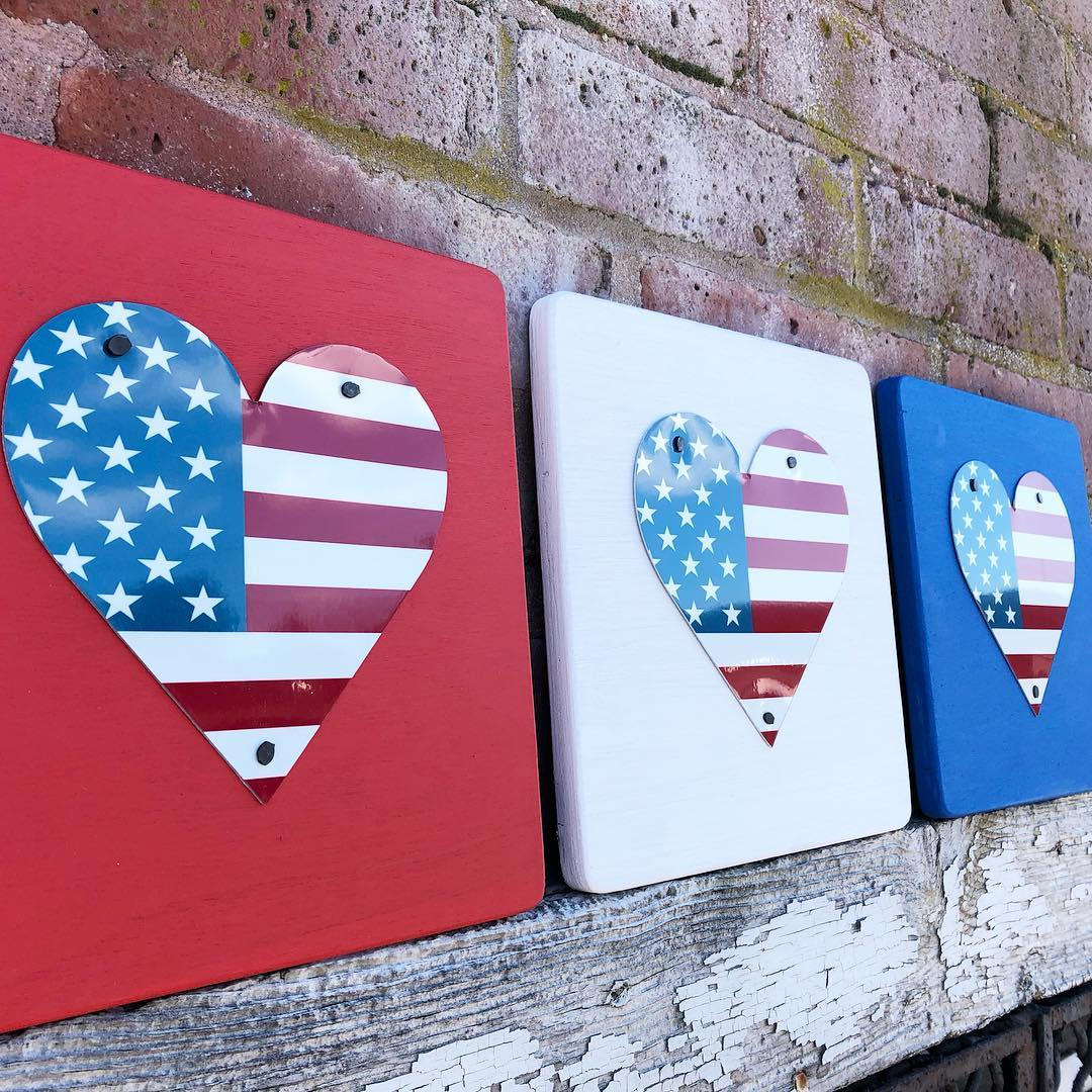 SET OF 3 U.S. FLAG HEARTS  Recycled License Plate Art - Unique Pl8z