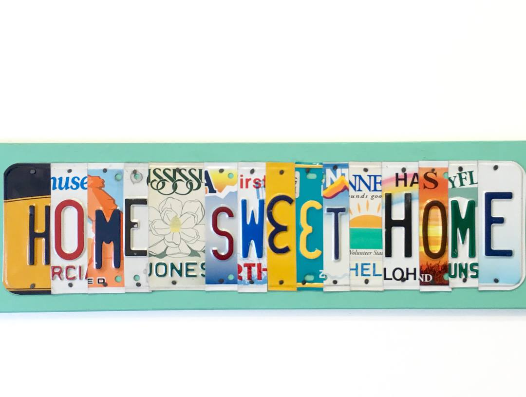 HOME SWEET HOME by Unique Pl8z  Recycled License Plate Art - Unique Pl8z