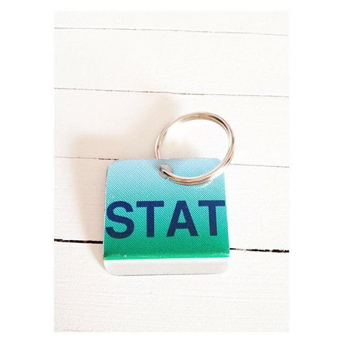KEY CHAIN STAT, gift for doctor, gift for nurse, gift for EMT,  Recycled License Plate Key Chain - Unique Pl8z