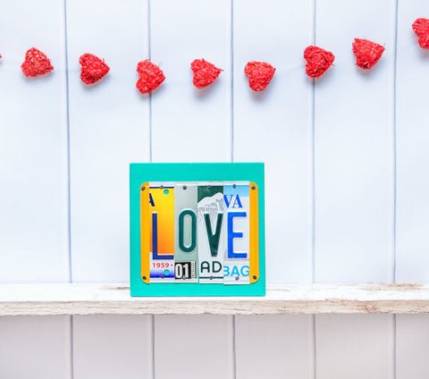 LOVE license plate sign by Unique Pl8z  Recycled License Plate Art - Unique Pl8z