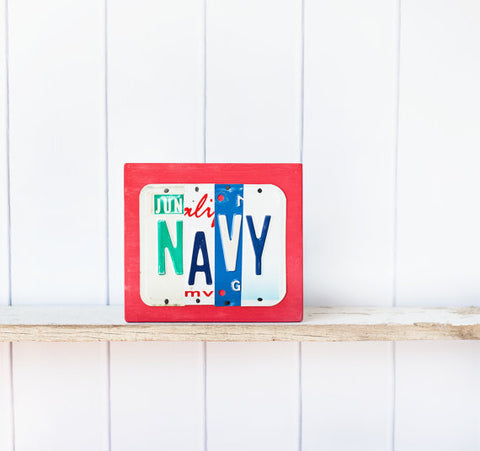 NAVY License Plate Sign by Unique Pl8z  Recycled License Plate Art - Unique Pl8z