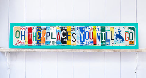 OH the Places You Will Go license plate art, gift for graduate, gift for military child  Recycled License Plate Art - Unique Pl8z