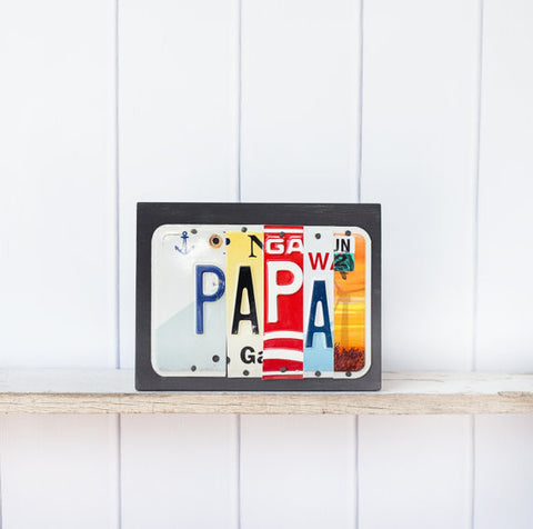 PAPA  Recycled License Plate Art - Unique Pl8z