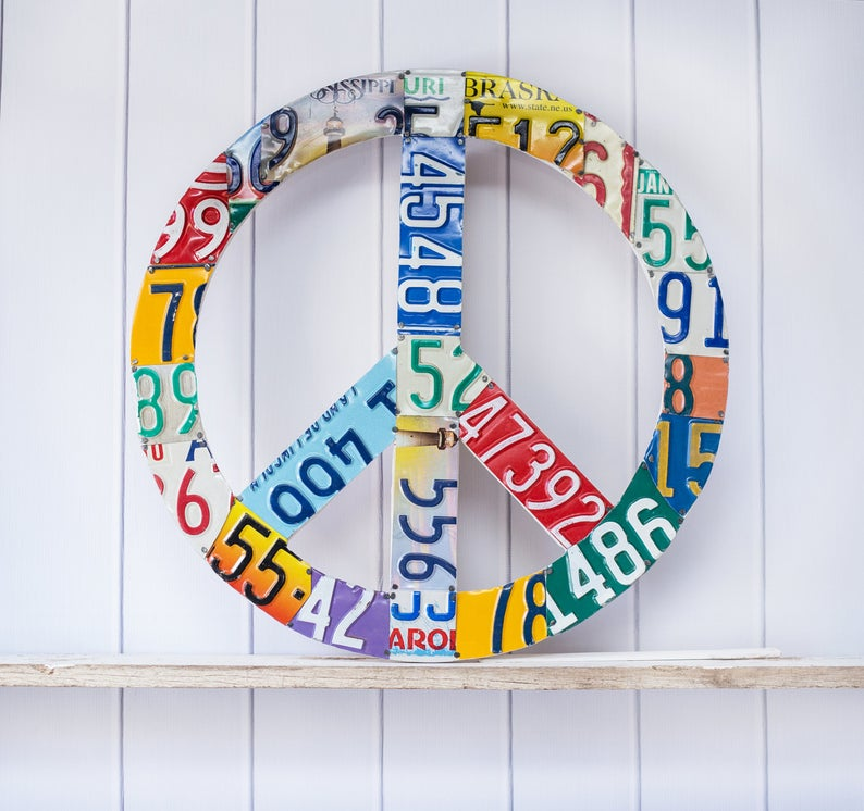 PEACE SIGN - small  Recycled License Plate Art - Unique Pl8z