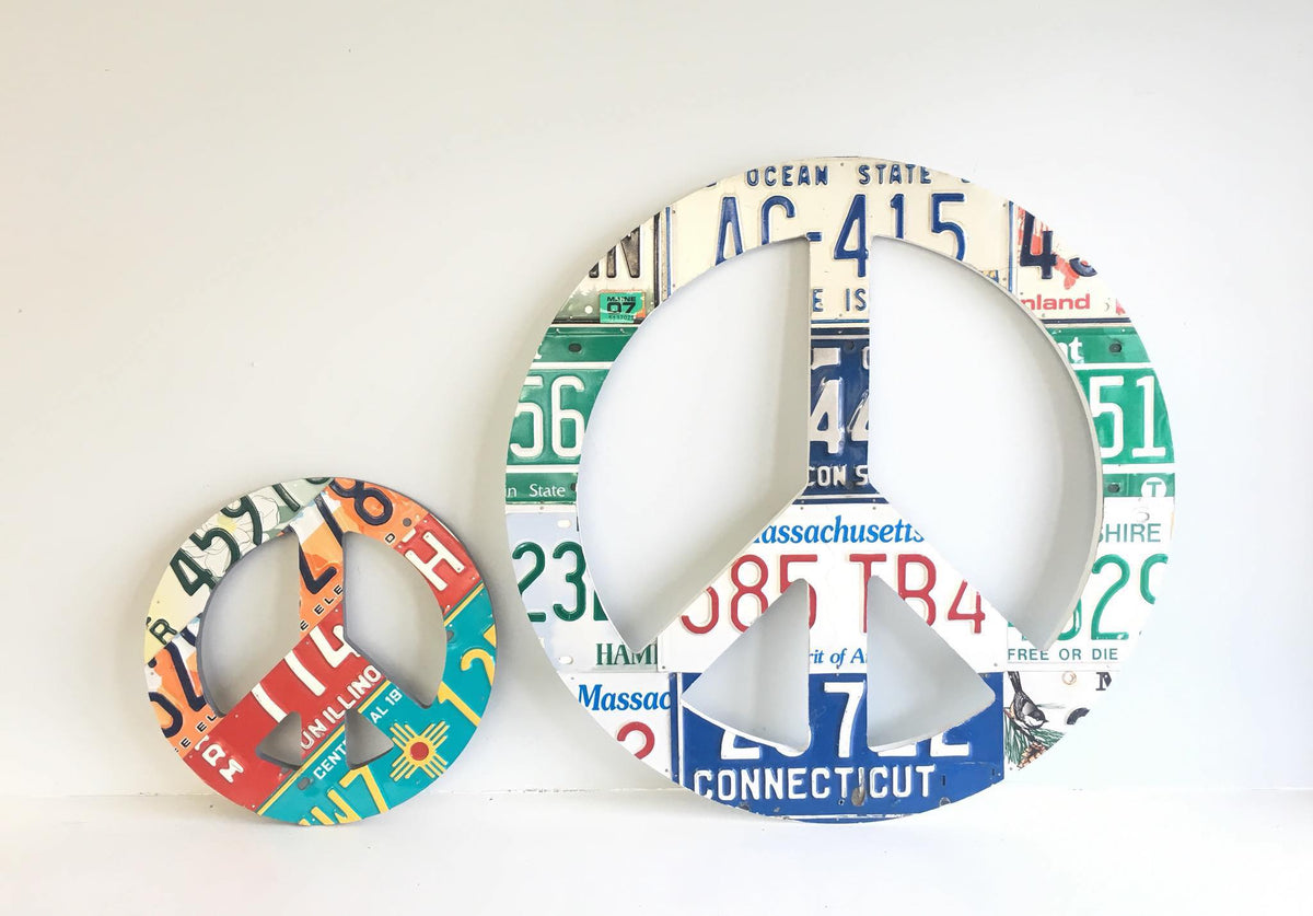 PEACE SIGN - large  Recycled License Plate Art - Unique Pl8z
