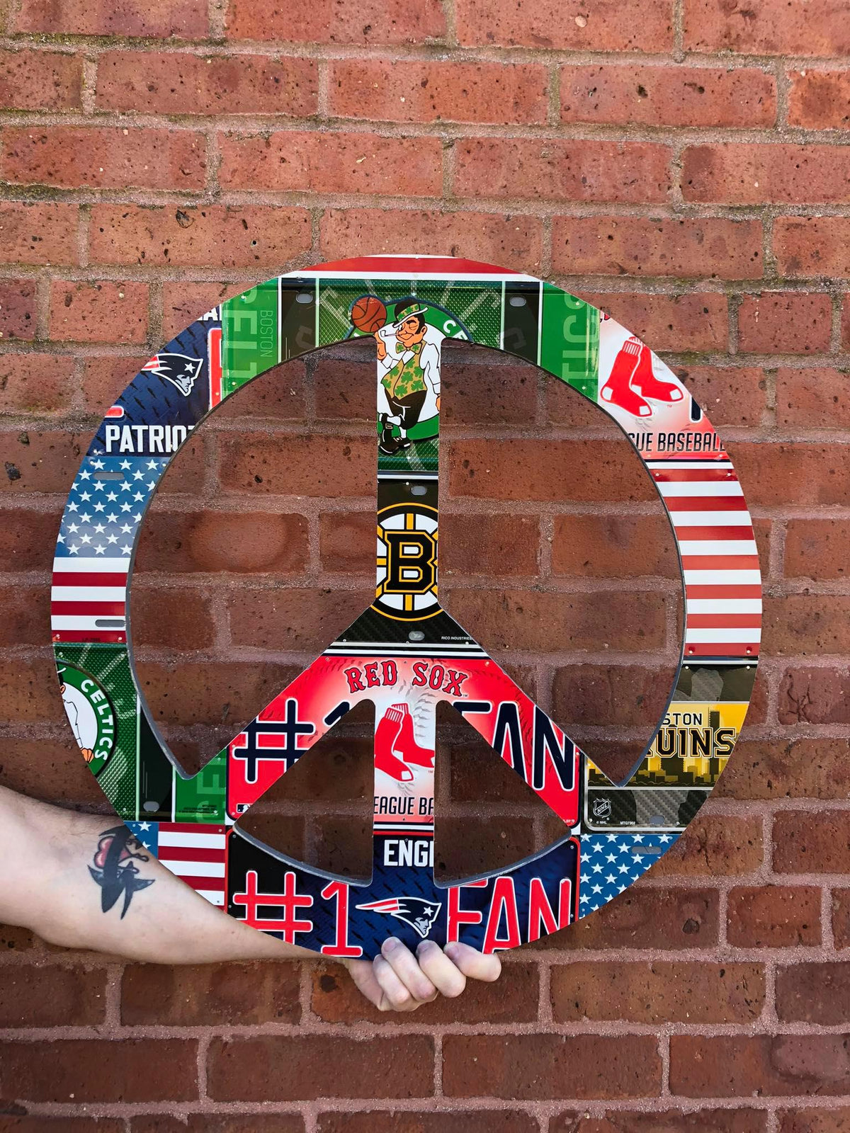 BOSTON SPORTS PEACE SIGN by Unique Pl8z  Recycled License Plate Art - Unique Pl8z