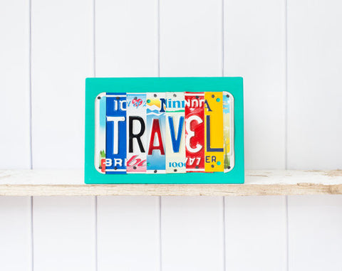 Travel License Plate Plaque  Recycled License Plate Art - Unique Pl8z