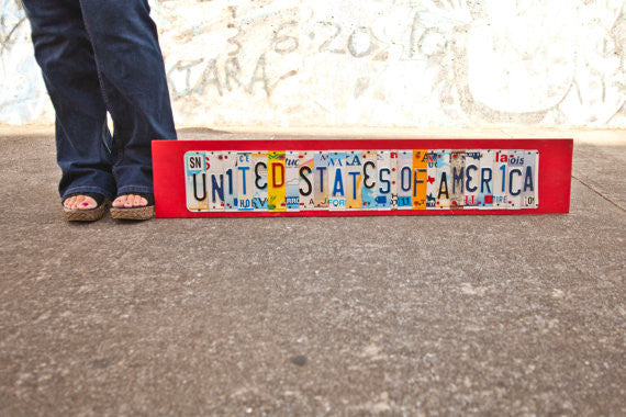 UNITED STATES OF AMERICA by Unique Pl8z  Recycled License Plate Art - Unique Pl8z