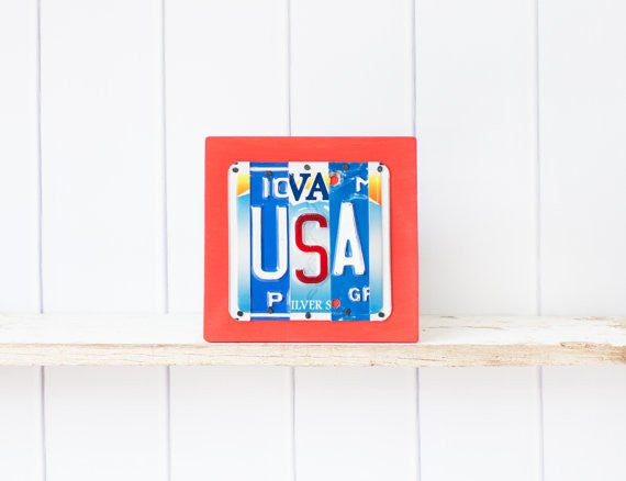 USA by Unique Pl8z  Recycled License Plate Art - Unique Pl8z