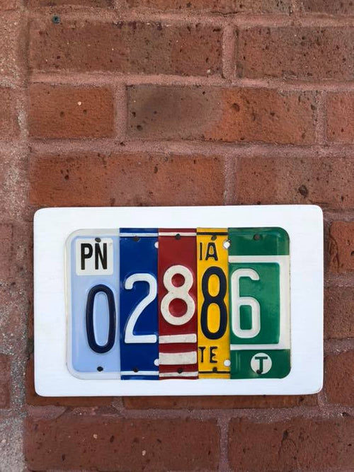 ZIP CODE - you choose the numbers  Recycled License Plate Art - Unique Pl8z