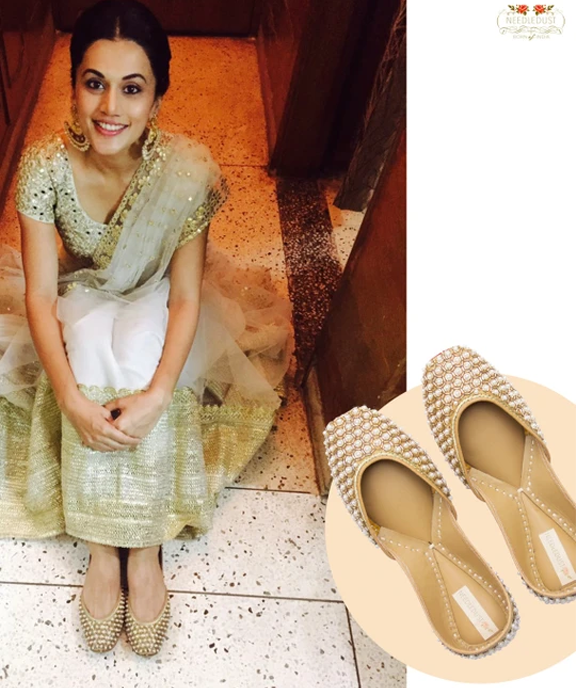 Bollywood actress, Taapsee Pannu spotted in dancing pearl juttis