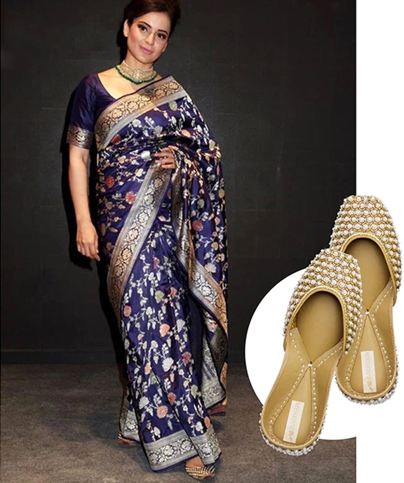 Kangana Ranaut spotted in dazzle juttis by needledust luxury indian designer brand