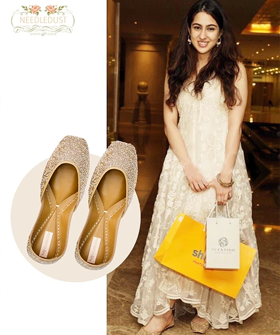 Bollywood actress, Sara Ali Khan spotted in dazzle juttis by needledust