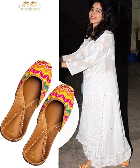 Bollywood actress Jhanvi Kapoor spotted in Needledust rung juttis