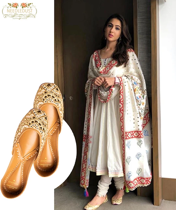 Bollywood actress Sara Ali Khan spotted in Abu Jani and Sandeep Khosla jutti collection