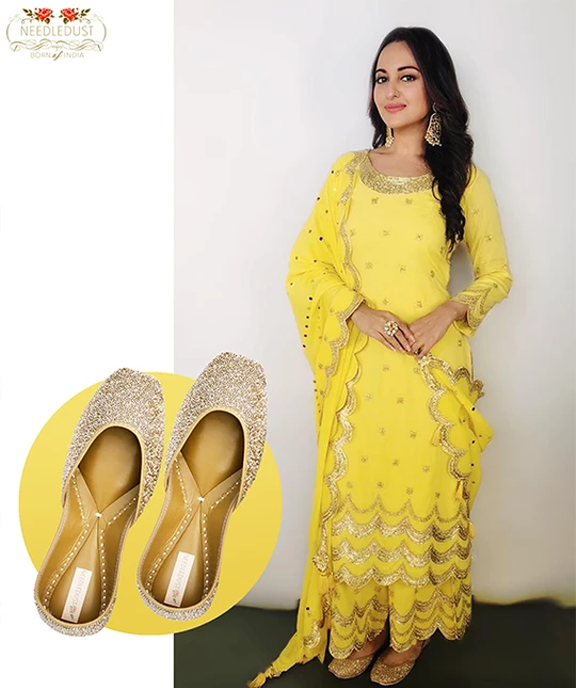 Bollywood actress Sonakshi Sinha spotted in dazzle needledust juttis