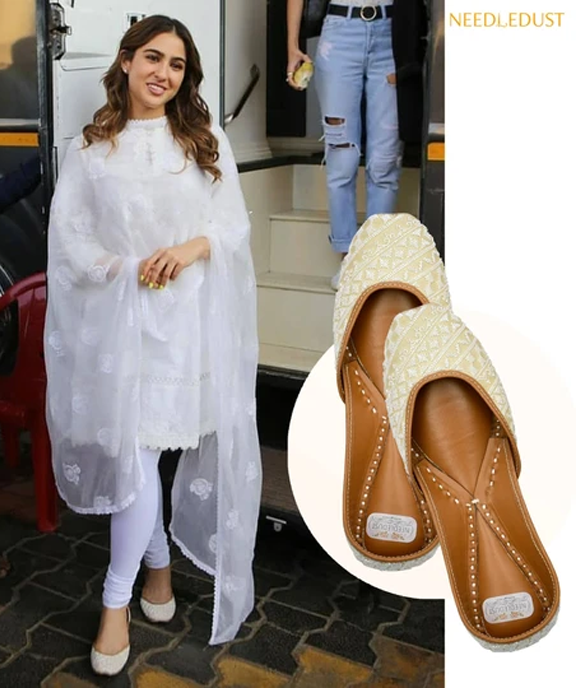 Actress Sara Ali Khan spotted in Needledust juttis