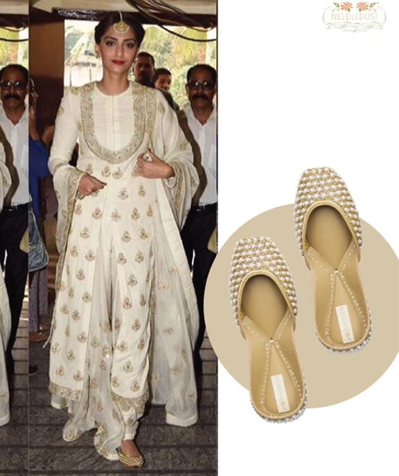 Bollywood style icon Sonam Kapoor wearing dancing pearl needledust juttis
