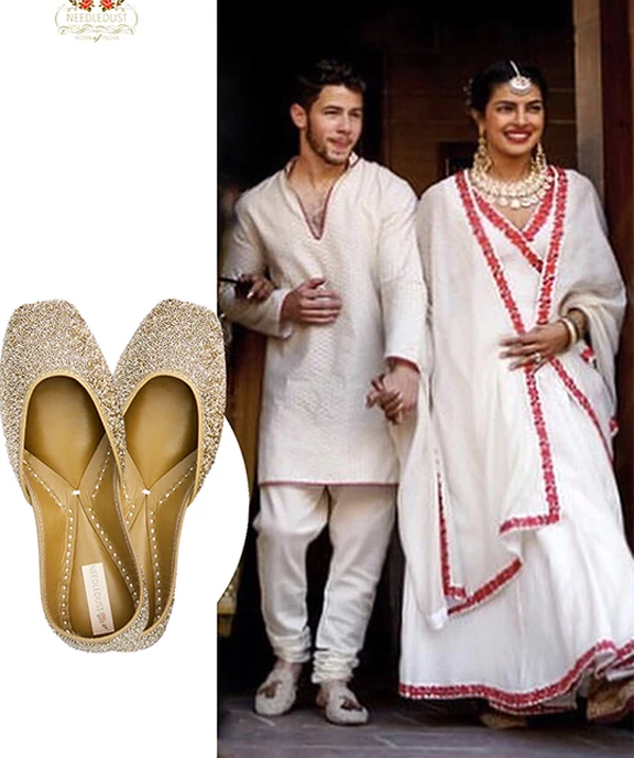 Prinyanka chopra wearing needledust dazzle juttis during her wedding