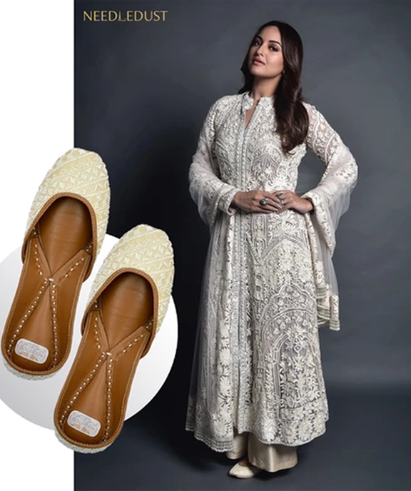 Bollywood actress Sonakshi Sinha spotted in white ivory juttis