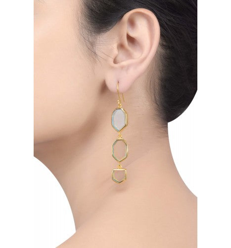 Gold Plated Green Glass Studded Drop Earrings - Riviera Closet