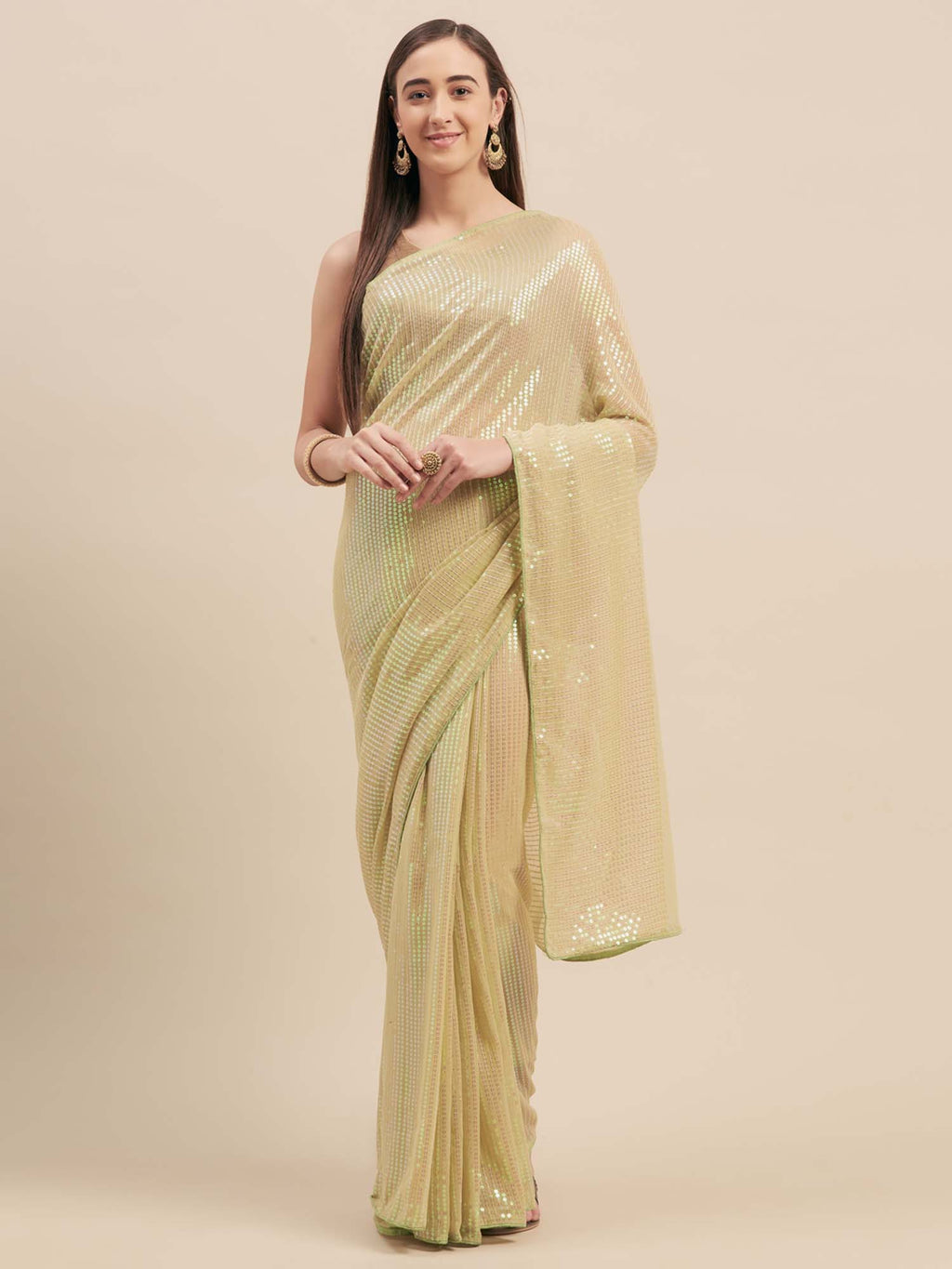 Green Poly Georgette Sequinns Embroidered Saree - Riviera Closet