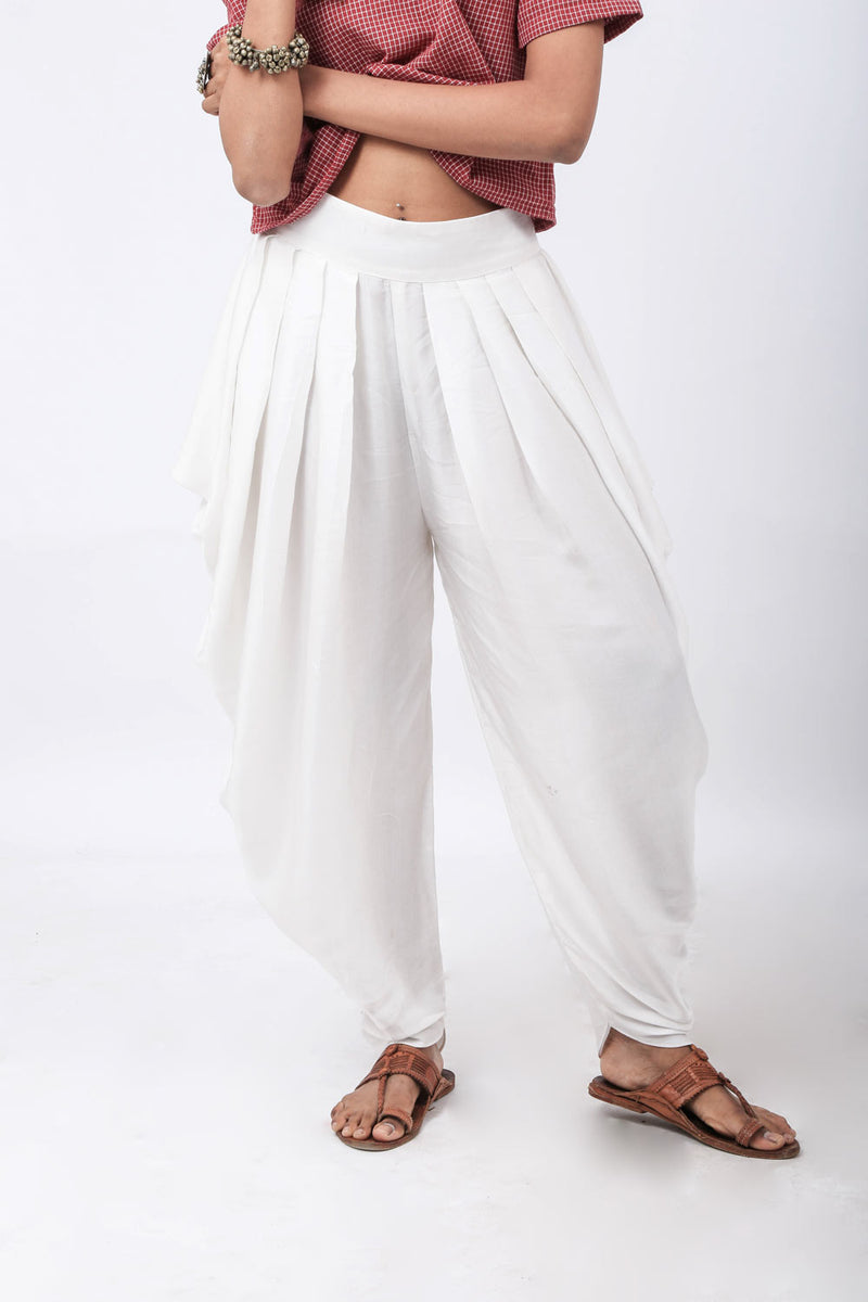 Essential White Draped Pants - Riviera Closet