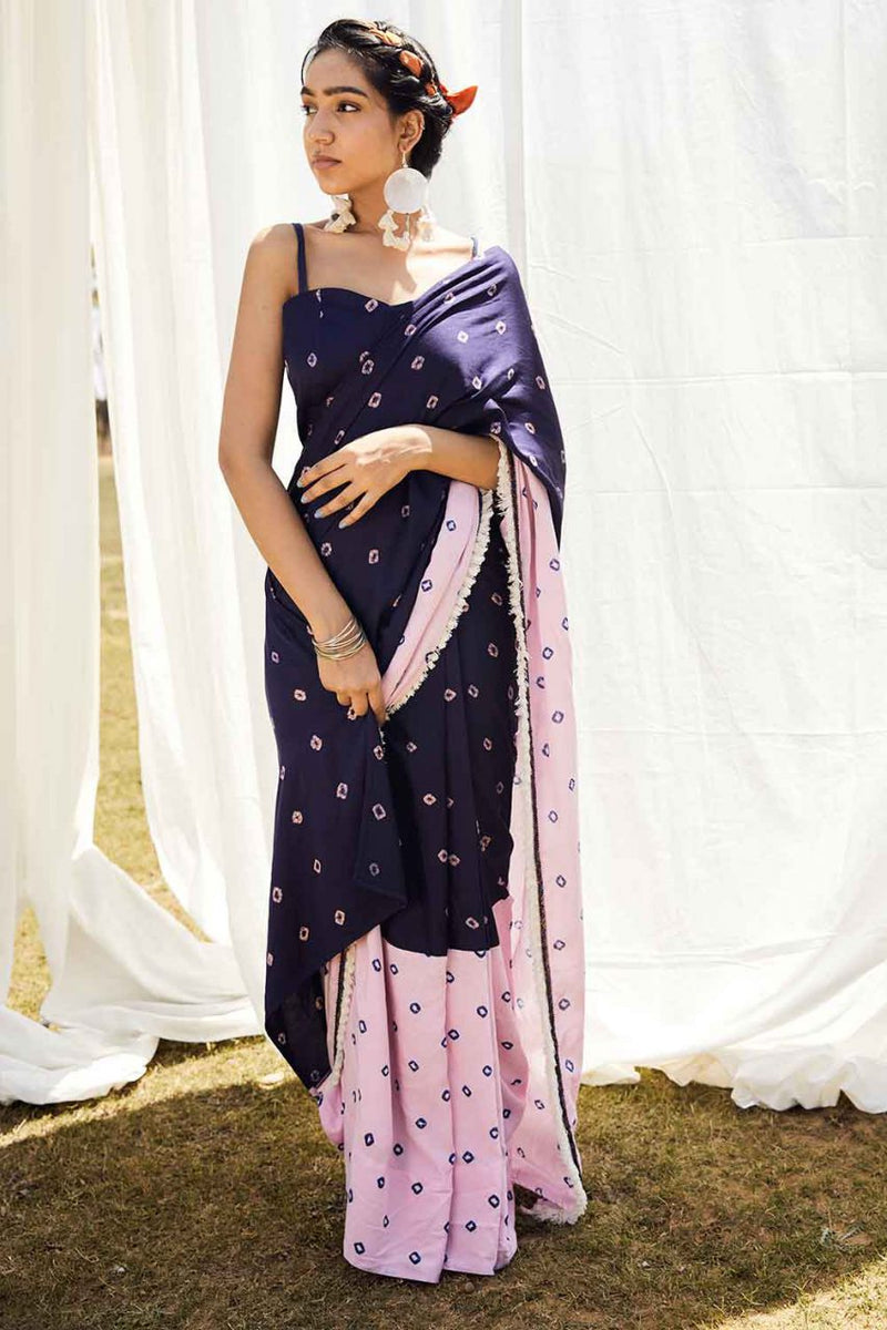 Bandhej Pre Draped Saree With Bustier - Riviera Closet