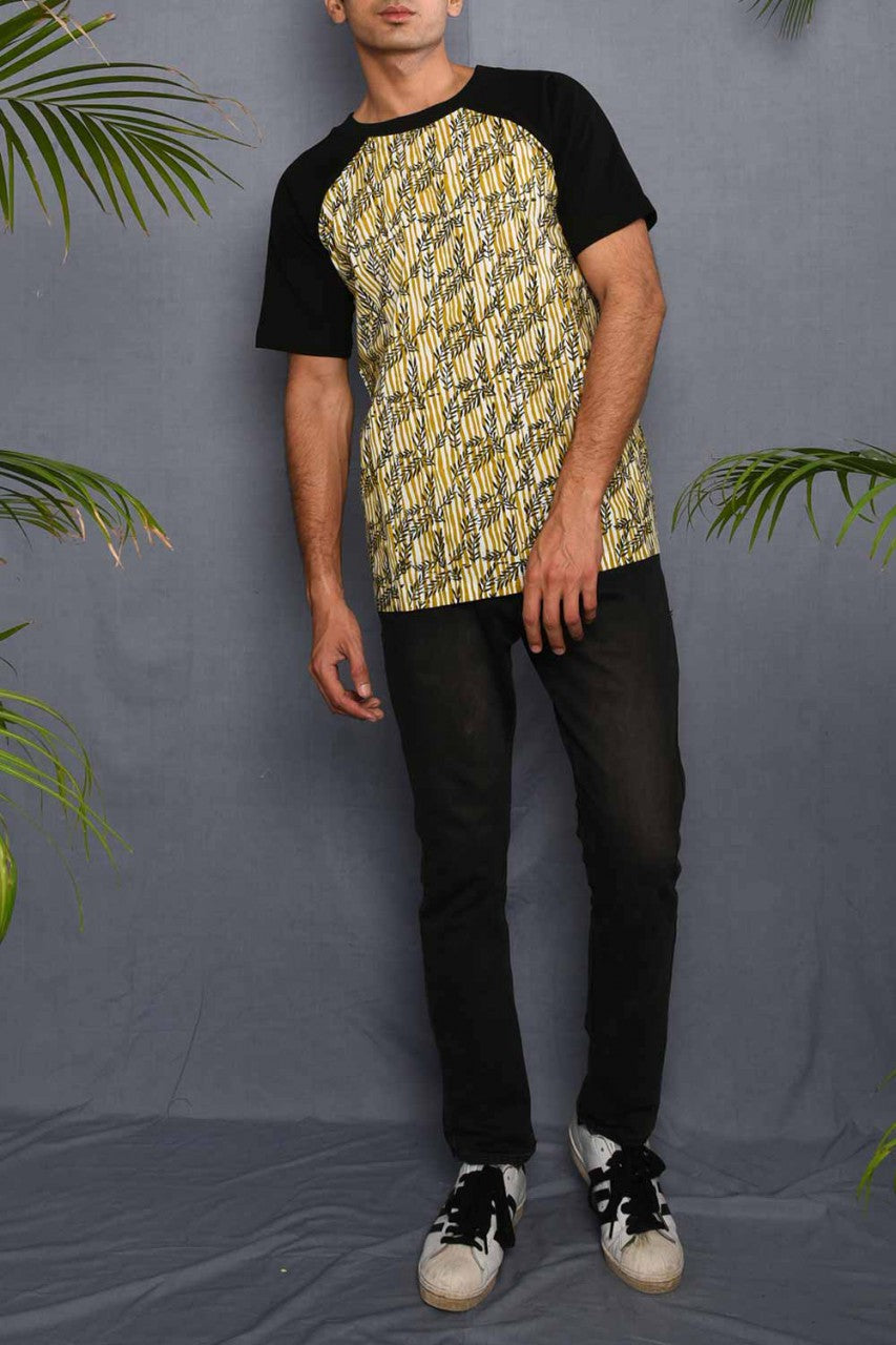 Block Printed Tropical T-shirt with Black Jersey - Riviera Closet