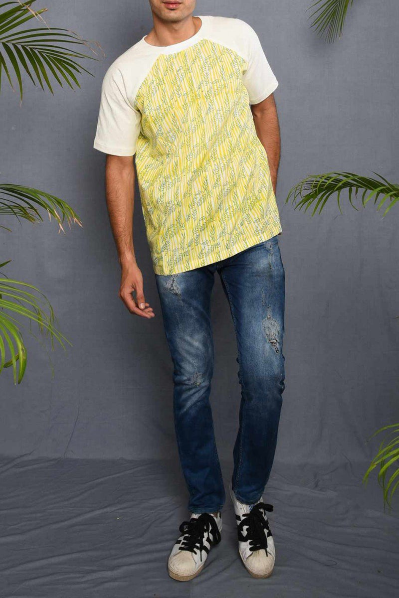 Block Printed Tropical T-shirt with White Jersey - Riviera Closet