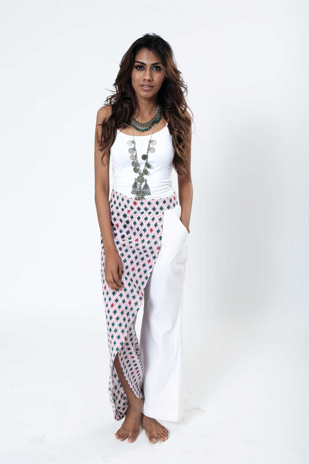 Block Printed Wrap Pants - Riviera Closet