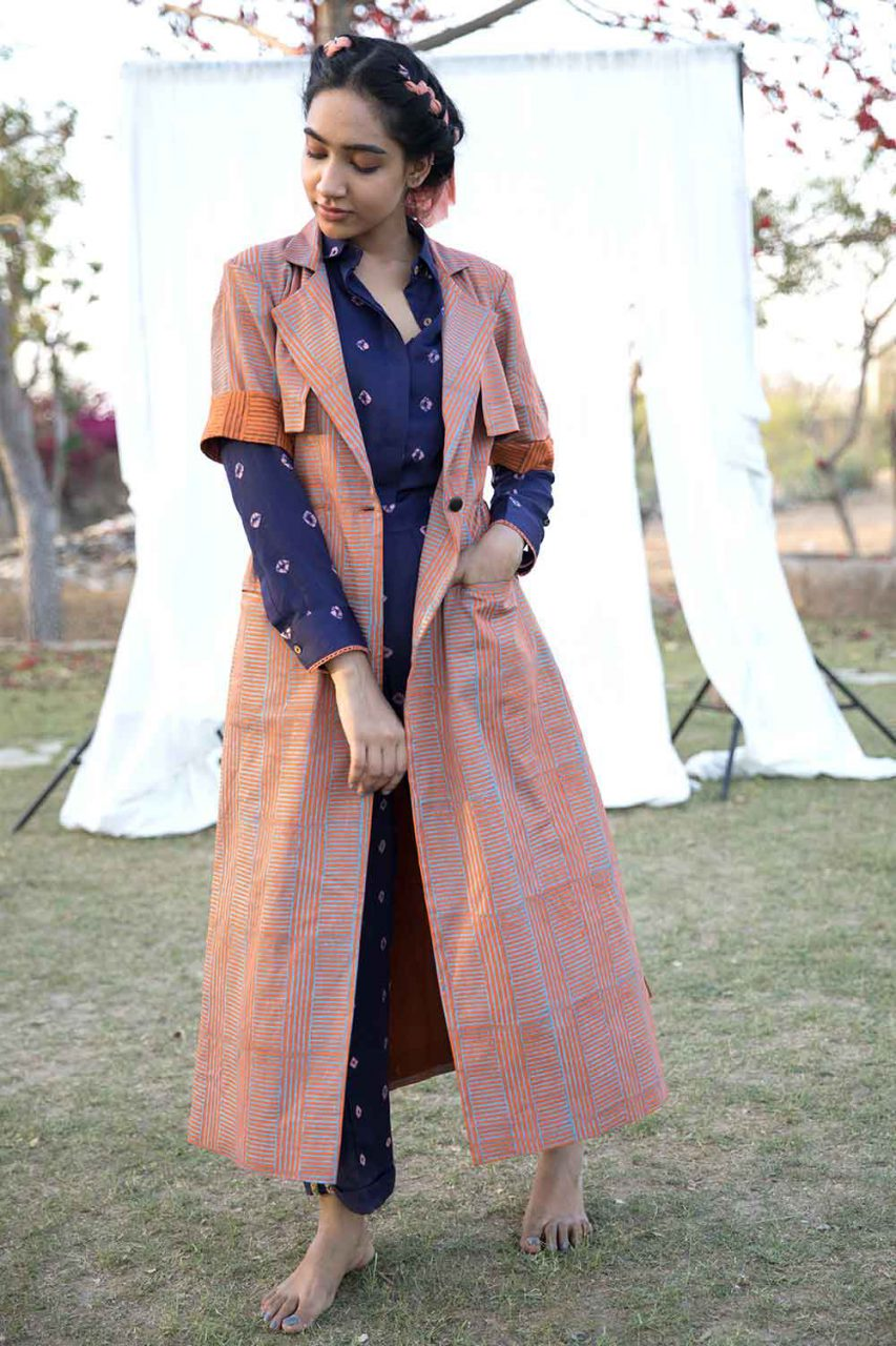 Block Printed Trench Jacket - Riviera Closet