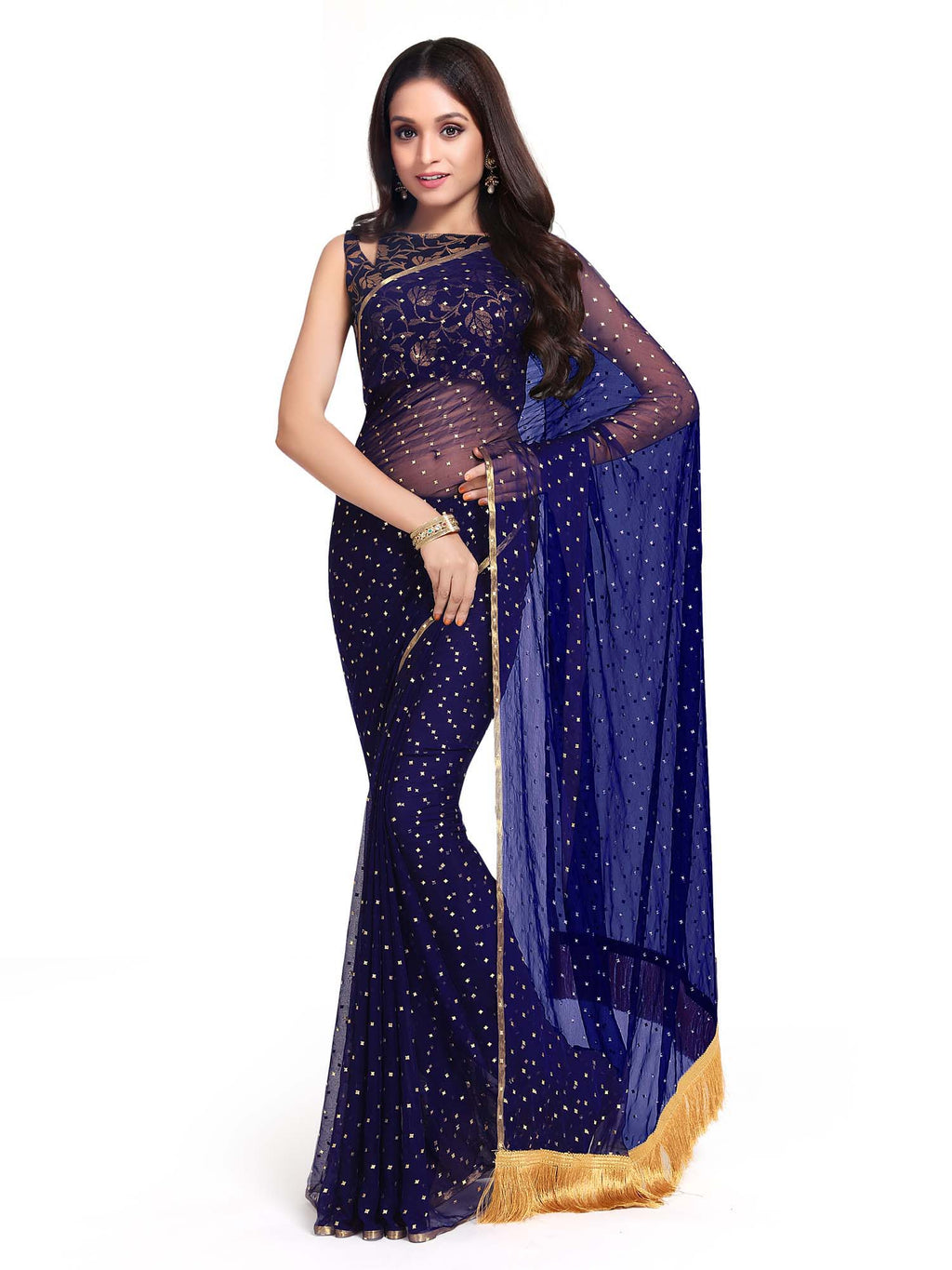 Blue Poly Georgette Women Saree - Riviera Closet