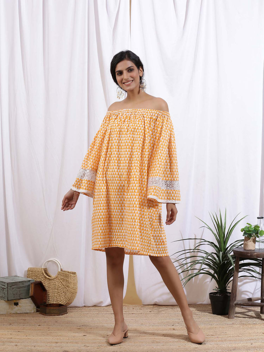 White and Orange Mangue Off Shoulder Dress - Riviera Closet