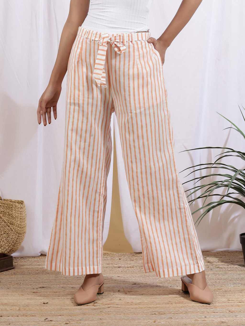 Yellow White Mangue Stripe Pants - Riviera Closet