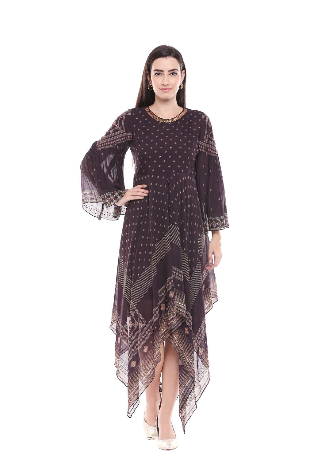 Printed Black and Beige Handkerchief Style Dress - Riviera Closet